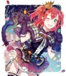 ;d animal_ears animal_hood blush bow bowtie candy capelet cat_ears cat_tail cowboy_shot crown dated fake_animal_ears fake_tail food frilled_skirt frills fur_trim garter_straps gem gloves green_eyes hairband happy_birthday highres hood hood_down kurosawa_ruby lollipop love_live! love_live!_school_idol_festival love_live!_sunshine!! mini_crown one_eye_closed open_mouth paw_gloves paws redhead skirt smile sudach_koppe tail thigh-highs two_side_up zettai_ryouiki