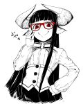1girl animal_ears black_hair bustier closed_mouth commentary_request doyagao hand_on_glasses hand_on_hip hand_up horned_girl_(jaco) horns jaco long_hair long_sleeves looking_at_viewer original red-framed_eyewear red_eyes ribbon shirt simple_background skirt slit_pupils smile smug solo sparkle standing very_long_hair white_background