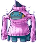 cleavage_cutout clothed_pokemon commentary_request downscaled expressionless jaco marshtomp meme_attire no_humans open-chest_sweater outline pokemon pokemon_(creature) ribbed_sweater simple_background solo sweater turtleneck wardrobe_error white_background you're_doing_it_wrong