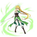 1girl blonde_hair boots braid brown_footwear green_eyes highres leafa long_hair official_art open_mouth pointy_ears ponytail sword sword_art_online sword_art_online:_memory_defrag thigh-highs transparent_background twin_braids weapon