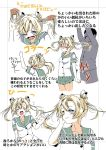 10s 1boy 1girl abukuma_(kantai_collection) blonde_hair blue_eyes blush breasts clenched_hand closed_eyes comic commentary_request double_bun flying_sweatdrops hand_on_own_cheek hand_up hands_on_another's_head highres kantai_collection long_hair long_sleeves nose_blush one_eye_closed open_mouth pleated_skirt school_uniform serafuku shino_(ponjiyuusu) short_sleeves skirt skirt_flip small_breasts smile sweatdrop translation_request twintails wide-eyed