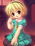 blonde_hair child dress hairband higurashi_no_naku_koro_ni houjou_satoko kneeling pantyhose red_eyes sailor_dress short_hair sparkle sparkles