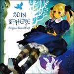 alice_(odin_sphere) blonde_hair blue_eyes cat cd_cover cover dress george_kamitani lowres odin_sphere official official_art ribbon socrates socrates_(odin_sphere) soundtrack title_drop twintails