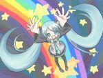 aqua_hair hatsune_miku long_hair necktie rainbow rainbow_path sakuramori_sumomo skirt star stars thighhighs twintails vocaloid