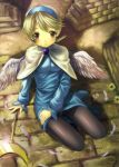 breath_of_fire breath_of_fire_iv feathers hairband kichiroku nina_(breath_of_fire_iv) nina_iv pantyhose short_hair sitting staff wings
