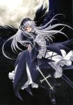 hairband long_hair moon red_eyes rozen_maiden silver_hair suigintou trimcolor wings