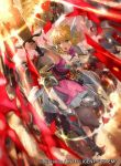 1girl animal armor armored_boots bangs belt blonde_hair boots breastplate bridal_gauntlets brown_eyes cape commentary dress fire_emblem fire_emblem:_seisen_no_keifu fire_emblem:_thracia_776 fire_emblem_cipher holding holding_sword holding_weapon horse long_hair mayo_(becky2006) nanna_(fire_emblem) official_art open_mouth petals pink_dress sheath sheathed staff sword weapon