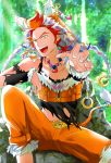 1boy akai_suzaku animal blue_eyes cat collarbone idolmaster idolmaster_side-m jewelry male_focus multicolored_hair necklace nyako_(idolmaster) open_mouth outdoors outstretched_hand redhead sitting torn_clothes two-tone_hair yellow_eyes