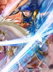 1boy blue_eyes blue_hair boots cape company_name faceless faceless_male finn_(fire_emblem) fire_emblem fire_emblem:_seisen_no_keifu fire_emblem:_thracia_776 fire_emblem_cipher horse horseback_riding kita_senri male_focus official_art open_mouth polearm riding rock solo spear teeth weapon