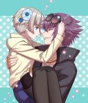 1boy 1girl blue_eyes carrying hair_ornament highres looking_at_another meteora_osterreich mirokuji_yuuya popped_collar princess_carry purple_hair re:creators short_hair silver_hair sunglasses sunglasses_removed white_hair