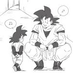 2boys arms_behind_back back_turned black_eyes black_hair boots dougi dragon_ball dragonball_z father_and_son greyscale happy kneeling looking_at_another male_focus miiko_(drops7) monochrome multiple_boys musical_note open_mouth short_hair simple_background smile son_gokuu son_goten speech_bubble spiky_hair white_background wristband