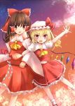 2girls :d :o arm_up bare_shoulders blonde_hair blush bow brown_hair cherry_blossoms clouds commentary_request cowboy_shot cravat detached_sleeves fangs flandre_scarlet flying frilled_skirt frills gohei gradient_sky hair_bow hair_tubes hakurei_reimu hat hat_ribbon highres holding locked_arms looking_at_viewer mary_janes midriff mob_cap multiple_girls navel ncatabc open_hand open_mouth orange_eyes outdoors outstretched_hand ponytail puffy_short_sleeves puffy_sleeves red_eyes ribbon shoes short_hair short_sleeves side_ponytail skirt skirt_set sky smile socks star_(sky) starry_sky touhou twilight white_legwear wings