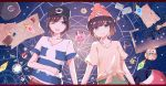 1boy 1girl :d backpack backpack_removed bag black_hat blue_eyes brown_hair clefairy flower hat jigsaw_puzzle looking_at_viewer mizuki_(pokemon_sm) open_mouth planetes_(ann1990702317) pokeball_symbol pokemon pokemon_(creature) pokemon_(game) pokemon_sm puzzle red_hat rowlet scroll shirt smile striped striped_shirt stuffed_toy t-shirt you_(pokemon_sm)