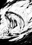1girl black_hair commentary_request demon_archer fate/grand_order fate_(series) from_side greyscale kiguchiko koha-ace leaning_forward long_hair monochrome nude partially_submerged smoke solo sweat water wet