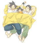 3boys barefoot black_eyes black_hair blanket brothers closed_eyes dragon_ball dragonball_z eyebrows_visible_through_hair father_and_son male_focus miiko_(drops7) multiple_boys open_mouth orange_shirt pants pillow shirt siblings simple_background sleeping smile son_gohan son_gokuu son_goten white_background white_shirt