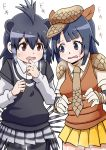 2girls absurdres animal_ears armadillo_ears black_hair blush crested_porcupine_(kemono_friends) giant_armadillo_(kemono_friends) heavy_breathing highres kemono_friends long_hair multiple_girls oekakimannga open_mouth porcupine_ears shirt short_hair shoulder_pads skirt sweater_vest translation_request