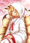 1girl ^_^ animal_ears blonde_hair blush bride cherry_blossoms closed_eyes facing_viewer fan folding_fan fox_ears fox_tail hands_together heart heart_tail highres hood japanese_clothes jewelry kayou_(sennen_sensou_aigis) kimono multiple_tails parted_lips playjoe2005 ring sennen_sensou_aigis short_hair smile solo tail uchikake wedding_ring