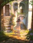 1girl alley arch black_eyes black_hair blue_sash cat city commentary_request day door dress flower hand_in_hair high_heels highres long_hair looking_at_viewer original outdoors pavement pink_dress plant potted_plant road sash scenery sho_(shoichi-kokubun) short_sleeves solo stairs standing street window