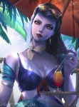 1girl alternate_costume beach beach_umbrella breasts cleavage cocktail_glass commentary cote_d'azur_widowmaker cup day drinking_glass drinking_straw earrings eyelashes eyeliner front-tie_bikini front-tie_top hair_slicked_back head_tilt holding hoop_earrings jessica_aumaitre jewelry lips long_hair looking_at_viewer makeup making_of md5_mismatch nail_polish nose outdoors overwatch palm_tree purple_hair purple_nails purple_skin red_lips shade short_sleeves small_breasts solo sunglasses sunglasses_on_head swimsuit tree tree_branch umbrella upper_body watermark web_address white_choker widowmaker_(overwatch) yellow_eyes