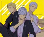10s 3boys blonde_hair character_name chopsticks male_focus multiple_boys narukami_yuu persona persona_3 persona_4 persona_5 sakamoto_ryuuji sanada_akihiko school_uniform short_hair silver_hair simple_background smile white_hair yasogami_school_uniform yellow_background