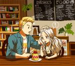 ! 1boy 1girl ^_^ alternate_costume animated animated_gif blonde_hair blue_eyes boku_no_hero_academia book bookshelf cafe cake casual chair closed_eyes coffee eri_(boku_no_hero_academia) floral_print food fork_in_mouth fruit hand_on_another's_head happy heart horn indoors long_hair menu menu_board mon-doodles orange_eyes petting plant ponytail pot smile strawberry thought_bubble toogata_mirio wooden_table