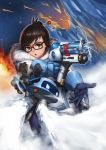 1girl absurdres aiming black-framed_eyewear blue_gloves brown_eyes brown_hair canister coat drone floating fur-trimmed_jacket fur_coat fur_trim glasses gloves gun hair_bun hair_ornament hair_stick highres holding holding_gun holding_weapon ice jacket looking_at_viewer mei_(overwatch) open_mouth overwatch qingmingtongzi robot short_hair snowball_(overwatch) snowflake_hair_ornament solo upper_body weapon winter_clothes winter_coat