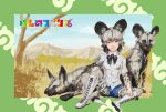 >:3 1girl :3 african_wild_dog african_wild_dog_(kemono_friends) african_wild_dog_ears african_wild_dog_print african_wild_dog_tail baten_(gei-vorugu) black_bow black_hair black_neckwear blue_sky boots bow bowtie breast_pocket brown_eyes clouds commentary_request copyright_name cross-laced_footwear day grass grey_hair hand_on_own_knee highres japari_symbol kemono_friends knee_boots looking_at_viewer mountain multicolored_hair outdoors pantyhose pantyhose_under_shorts pocket print_legwear savannah shirt short_hair short_shorts shorts sitting sky solo spread_legs tree white_boots white_shirt
