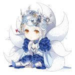 1girl between_legs bindi blue_dress blue_footwear blue_neckwear breasts chibi choker cleavage closed_mouth commentary_request dress expressionless fox_tail frilled_dress frills fur_trim hair_ornament hand_between_legs kitsune long_hair long_sleeves looking_at_viewer multiple_tails orange_eyes shi_er_xian shoes simple_background sitting solo tail white_background white_hair