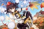 1girl autumn autumn_leaves clouds fan flying hat leaf maple_leaf red_eyes shameimaru_aya shirt shoes short_hair skirt sky solo syuri22 touhou