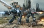anthony_scroggins_(shimmering_sword) arm_cannon battle battletech city cityscape commentary condensation_trail crater damaged dirty dust energy_beam energy_cannon explosion fire firing insignia madcat mecha missile realistic rocket_launcher roundel ruins science_fiction sparks vulture_(battletech) walker walking weapon wolf's_dragoons
