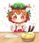 1girl animal_ears apple brown_hair cat_ears chen eating food fruit fruit_basket hat highres ibaraki_natou jewelry ring solo touhou