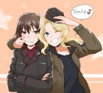 2girls :d bangs black_hat black_jacket black_shirt blonde_hair blue_eyes brown_eyes brown_hair brown_jacket closed_mouth comic commentary_request crossed_arms dress_shirt emblem english facing_viewer garrison_cap girls_und_panzer hair_intakes hat hat_removed hat_theft headwear_removed heart jacket kay_(girls_und_panzer) kuromorimine_military_uniform long_hair long_sleeves looking_at_another military military_hat military_uniform mouth_pull multiple_girls nishizumi_maho open_clothes open_jacket open_mouth red_shirt saunders_military_uniform shirt short_hair smile standing star uniform upper_body yuhi