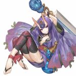 1girl absurdres akizone ankle_ribbon arms_up ass barefoot bob_cut bottle commentary eyelashes fang fate/grand_order fate_(series) full_body gem hair_ornament highres holding holding_sword holding_weapon horns japanese_clothes kimono looking_at_viewer midair obi oni oni_horns purple_hair revealing_clothes ribbon sash short_hair shuten_douji_(fate/grand_order) simple_background smile solo sword violet_eyes weapon white_background wide_sleeves
