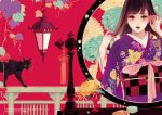 1girl asa_no_ha_(pattern) blush brown_eyes brown_hair cat comb commentary_request floral_background floral_print hand_in_hair hands_up japanese_clothes kimono lantern lipstick looking_at_viewer makeup matsuo_hiromi mirror mole mole_under_eye obi original parted_lips purple_kimono railing red_lipstick reflection sash solo standing watermark