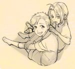 2boys alphonse_elric brothers edward_elric eyebrows_visible_through_hair fullmetal_alchemist greyscale hand_on_another's_back happy looking_at_another looking_at_viewer male_focus monochrome multiple_boys noako open_mouth sepia shirt short_hair shorts siblings simple_background smile socks