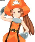 1girl absurdres arm_behind_head arm_up armpits artist_name bare_shoulders belt belt_buckle bright_pupils brown_hair buckle flat_chest gloves guilty_gear guilty_gear_xrd hat highres long_hair looking_at_viewer may_(guilty_gear) millerbrave orange_headwear pants pirate pirate_hat red_eyes simple_background skull_and_crossbones sleeveless smile solo twitter_username white_background white_pupils