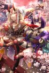 2girls alcohol bare_shoulders blonde_hair breasts cherry_blossoms cup drinking dripping earrings eyebrows_visible_through_hair facial_mark fang fate/grand_order fate_(series) hair_ornament highres holding holding_sword holding_weapon horns ibaraki_douji_(fate/grand_order) japanese_clothes jewelry kimono legs_crossed long_hair looking_at_viewer moon multiple_girls navel oni oni_horns open_mouth petals pointy_ears purple_hair red_moon revealing_clothes sakazuki sake short_hair shuten_douji_(fate/grand_order) sitting sky small_breasts sword tattoo torii violet_eyes weapon yellow_eyes yumeichigo_alice