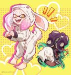+_+ 2girls animal_costume animal_ears aqua_hair aqua_nails barefoot blood blush bunny_costume bunny_tail cosplay crop_top fang feet fingerless_gloves full_body gloves headphones heart hime_(splatoon) iida_(splatoon) looking_away mole mole_under_mouth multicolored_hair multiple_girls nail_polish no_eyes nosebleed octarian open_mouth pink_hair polka_dot polka_dot_background purple_hair rabbit rabbit_ears simple_background splatoon splatoon_2 sweat symbol-shaped_pupils tail tentacle_hair twitter_username two-tone_hair white_hair yellow_background yellow_eyes zipper zipper_pull_tab