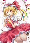 1girl :o ascot blonde_hair blush flandre_scarlet hat highres long_hair looking_at_viewer puffy_short_sleeves puffy_sleeves red_eyes red_skirt renka_(cloudsaikou) short_sleeves side_ponytail skirt solo touhou wings