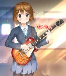 1girl black_legwear blazer blue_skirt brown_eyes brown_hair character_name copyright_name cowboy_shot electric_guitar guitar highres hirasawa_yui instrument jacket k-on! lens_flare looking_at_viewer neck_ribbon ns.x pantyhose pleated_skirt ribbon school_uniform short_hair skirt smile solo standing sun_beam