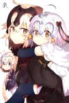 3girls absurdres ahoge black_legwear blonde_hair blue_eyes blush capelet carrying elbow_gloves fate/grand_order fate_(series) gloves headpiece heart highres jeanne_alter jeanne_alter_(santa_lily)_(fate) long_hair looking_at_viewer multiple_girls multiple_persona piggyback ranf ruler_(fate/apocrypha) squiggle thigh-highs yellow_eyes