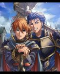 2boys :d armor axe battle_axe black_armor blue_cape blue_eyes blue_hair building cape clenched_teeth day eliwood eliwood_(fire_emblem) fangs fire_emblem fire_emblem:_rekka_no_ken friends h hair_between_eyes hand_on_another's_shoulder hands_together hector hector_(fire_emblem) highres holding holding_axe holding_sword holding_weapon kometubu0712 long_sleeves looking_at_viewer male_focus matching_hair/eyes multiple_boys neck nintendo open_mouth outdoors redhead short_hair sky smile standing sword teeth tiara turtleneck upper_body weapon