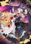 2girls absurdres bat bat_wings bleeding blonde_hair blood blood_drip blue_dress blue_eyes breasts dress drill_hair facing_away fang fantasy fingernails flower frilled_skirt frills grey_hair highres horror interlocked_fingers large_breasts long_hair long_sleeves looking_at_viewer multiple_girls nail_polish open_mouth original pointy_ears red_nails red_shoes rose sharp_fingernails shoes skirt spread_wings symbol_in_eye twin_drills vampire white_dress wide_sleeves wings wntame