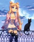 1girl bishoujo_senshi_sailor_moon blonde_hair blue_eyes breasts cat cleavage clouds dav-19 double_bun fence hair_bun long_hair looking_at_viewer luna_(sailor_moon) medium_breasts moon parted_lips sailor_collar sitting skirt sky smile solo star_(sky) starry_sky sweater tsukino_usagi