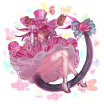 10s 1girl animal bangs bell blue_eyes bow clothed_animal commentary dress fang fate/extra fate/extra_ccc fate_(series) fish_tail floral_background flower frilled_skirt frills hands_on_headwear hat hat_flower high_heels highres lancer_(fate/extra_ccc) long_hair long_sleeves looking_at_viewer one_eye_closed open_mouth pig pink_dress pink_hair pink_hat red_rose rolua rose skirt smile solo squirrel tail tail_bell tail_bow tail_flower top_hat white_background wrist_cuffs