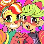 2girls :d al_bhed_eyes arms_(game) bangs blonde_hair blush bright_pupils cello_(us) clown clown_nose colorful crossed_bangs earrings eyebrows_visible_through_hair eyelashes green_eyes green_hair green_shirt grin hair_ribbon heart heart_hands jewelry lola_pop long_hair looking_at_viewer multicolored_hair multiple_girls open_mouth orange_hair outline pink_background pink_ribbon ponytail raised_eyebrows red_eyes redhead ribbon ribbon_girl_(arms) shirt short_hair simple_background sketch smile streaked_hair suspenders teeth tongue turtleneck two-tone_hair upper_body white_hair white_pupils