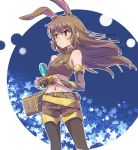 1girl animal_ears brown_eyes brown_hair bunny_tail camera commentary_request iesupa navel pantyhose rabbit_ears rwby sleeveless solo tail velvet_scarlatina