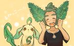 1boy blush closed_eyes dark_skin dark_skinned_male green_hair hau_(pokemon) leaf leaf_on_head leafeon open_mouth pokemon pokemon_(creature) pokemon_(game) pokemon_sm shirt short_hair short_ponytail siroromo smile t-shirt