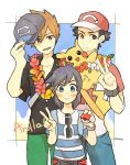3boys backpack bag bangs baseball_cap black_hair black_hat blush bracelet brown_eyes brown_hair flower_collar grey_eyes hat jewelry male_focus multiple_boys ookido_green ookido_green_(sm) pants pikachu poke_ball pokemon pokemon_(creature) pokemon_(game) pokemon_sm raglan_sleeves red_(pokemon) red_(pokemon)_(sm) shirt short_hair siroromo smile spiky_hair striped striped_shirt swept_bangs t-shirt v you_(pokemon_sm)