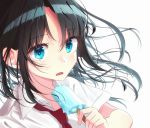 1girl bangs black_hair blue_eyes eyebrows_visible_through_hair food hami_yura holding holding_food long_hair looking_at_viewer necktie open_mouth original parted_bangs popsicle red_necktie school_uniform shirt short_sleeves simple_background solo white_background white_shirt wing_collar